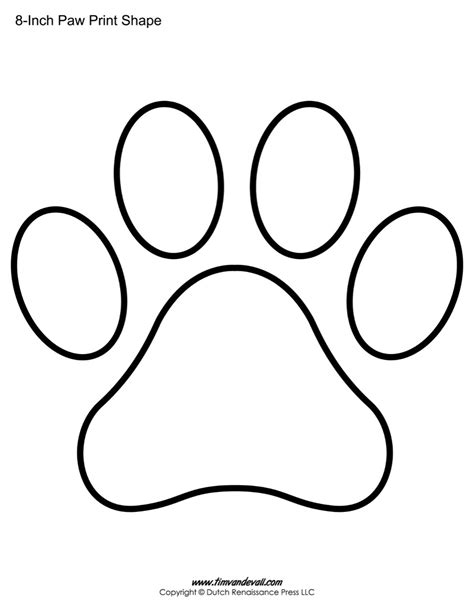 coloring pages of paw prints paw print template shapes blank printable shapes