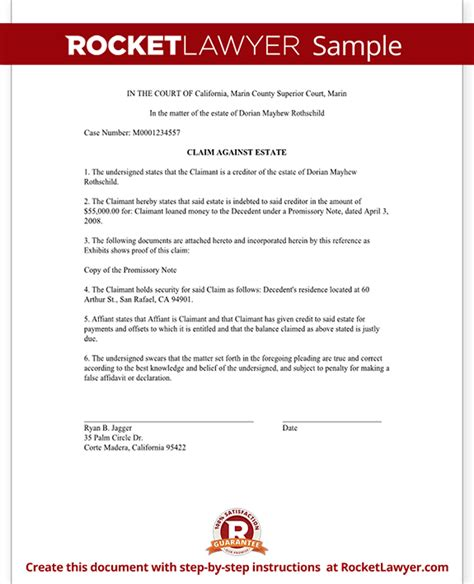 statement of claim template claims against an estate form free statement of claim