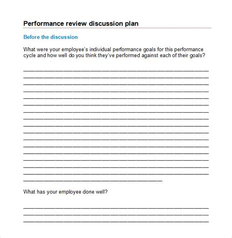 7 Performance Review Sles Sle Templates Employee Performance Discussion Template