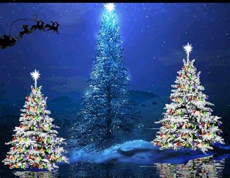santa s sleigh flying over christmas trees blue animated