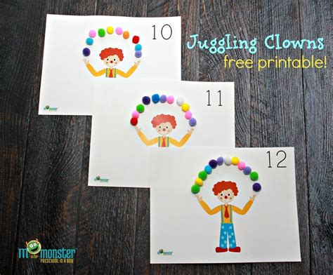 clown template preschool juggling clown counting activity for toddlers and