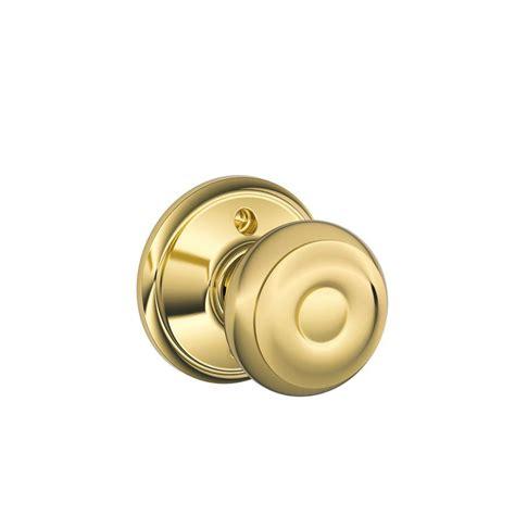 schlage georgian bright brass dummy knob f170 geo 605