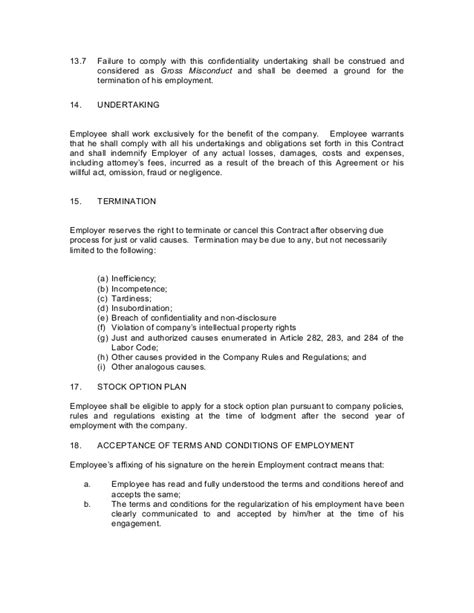 Letter Of Agreement Tagalog contract of employment probationary employee