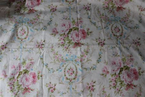 shabby chic fabric white blue pink rose cottage prairie by the