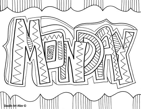 days of the week coloring pages classroom doodles
