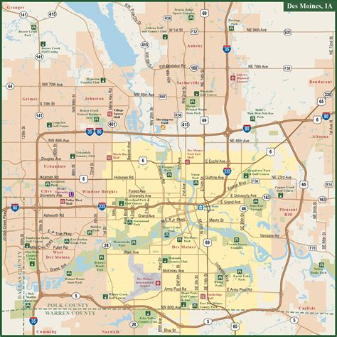 map of des moines iowa des moines metro map digital vector creative
