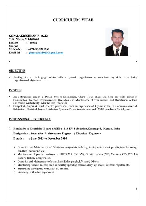 Curriculum Vitae Sample Format Doc by Electrical Engineer Cv