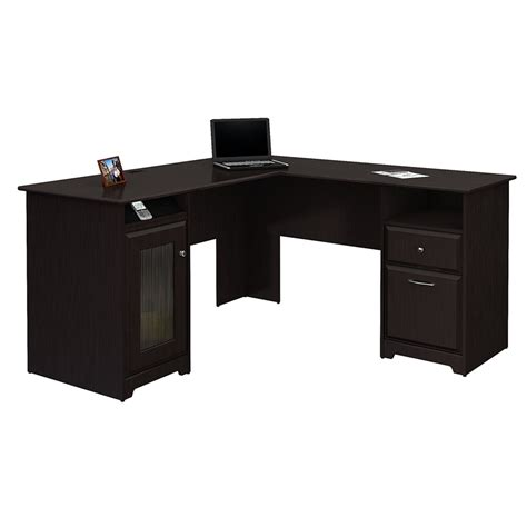 l shaped desk in espresso bush furniture cabot l shaped desk in espresso oak