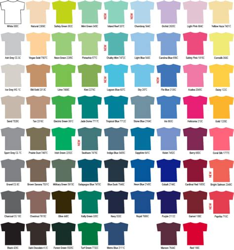 gildan color chart 2018