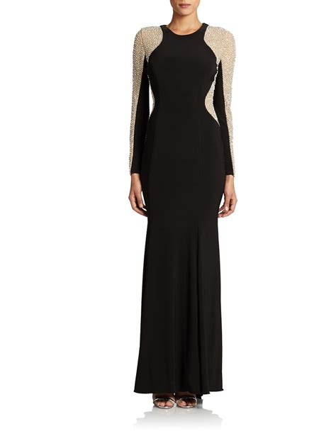black beaded gown xscape plus sleeved beaded gown in black lyst