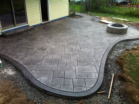 sted concrete patio and fire pit large ashlar pattern