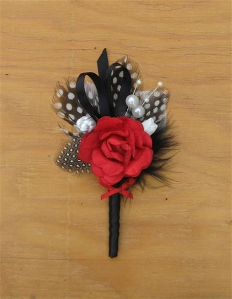 Handmade Corsage And Boutonniere - and black feather handmade grooms boutonniere on