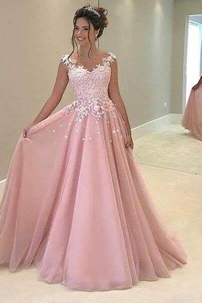 best dresses for prom beautiful lace top pink tulle prom dress with straps