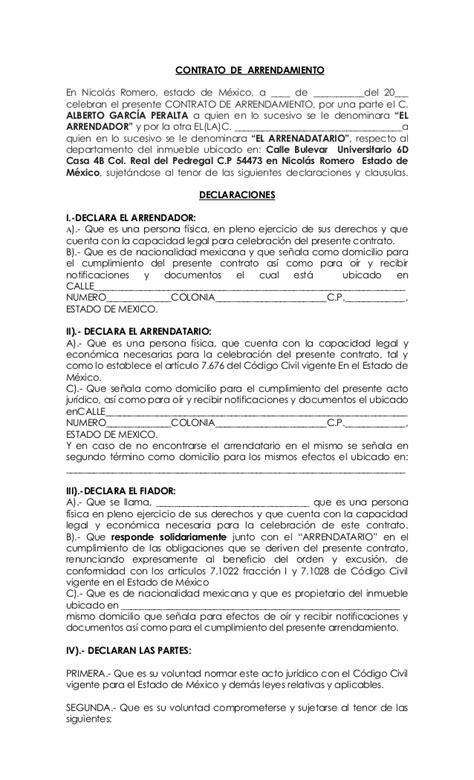 Contrato De Arrendamiento Mexico | formato contrato de arrendamiento con fiador casa tattoo