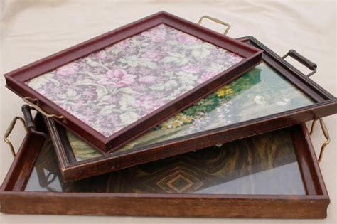 collection of wood frame trays antique vintage glass