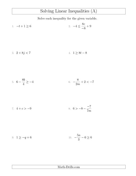 solving linear inequalities mixed questions a