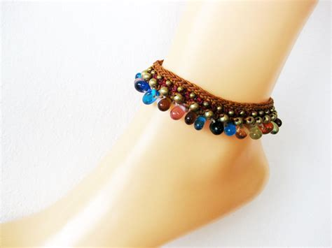 colorful with brass anklet brown