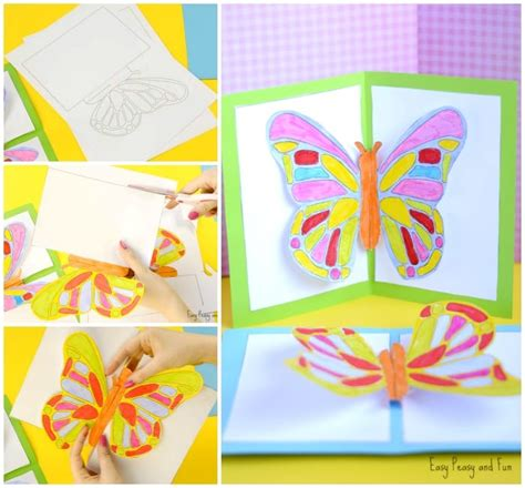 easy pop up card templates diy butterfly pop up card with a template easy peasy and