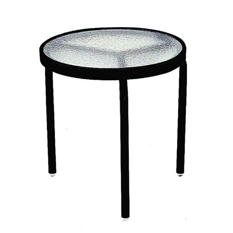 Outdoor Side Table Terrace Classics 18 In Black Patio Side Table Ivrt18bl The Home Depot