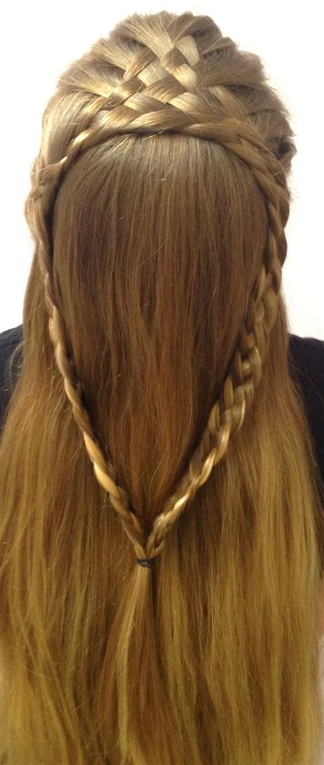 braided hair ends braided hairstyle 8 strand french braid split into two 4