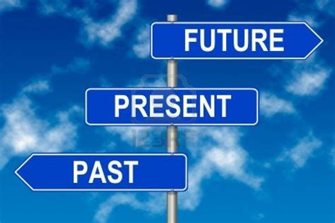 Aauw 13599282 Past Present Future Traffic Sign On A Sky