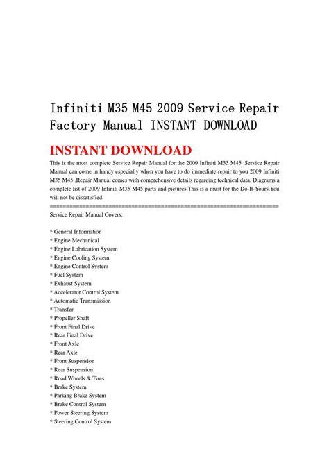 service repair manual free download 1992 infiniti m user handbook infiniti m35 m45 2009 service repair factory manual instant download by jshfjsen issuu