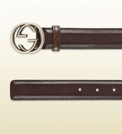gucci leather belt with interlocking g buckle in brown for