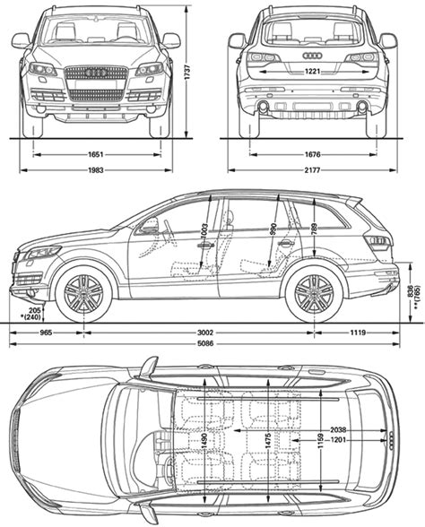 Audi Q7 Abmessungen by Car Blueprints Audi Q7 Blueprints Vector Drawings