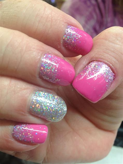 cnd shellac pink glitter reverse french french nail art
