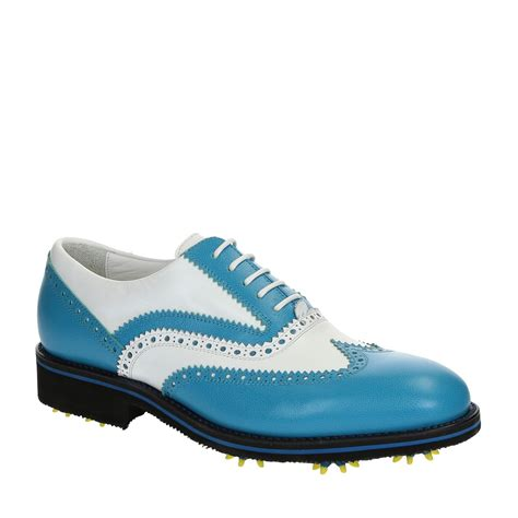 Handmade Leather Golf Shoes - handmade golf shoes white blue leather wingtip brogues