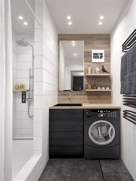 laundry bathroom eclectic single bedroom apartment with open floor plan