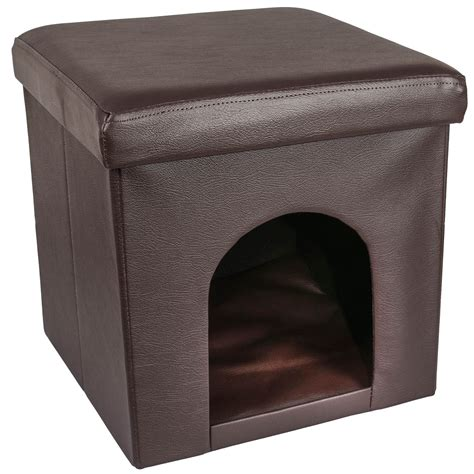 Ottoman Hideaway Bed Ottoman Cat Pet House Bed Hideaway Foldable Foot Stool Pvc Leather With Lid Ebay