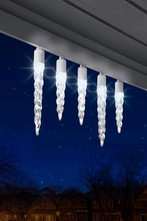 20 ct led christmas lights light show 12ct icicle led christmas light set white