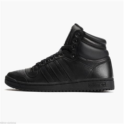 Adidas Leather Black Womens Original adidas originals top ten high tops all black leather trainers hi top b25349