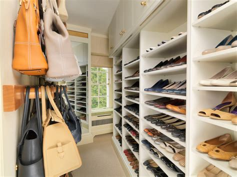 shoe and handbag storage walk in closet with storage for shoes and handbags