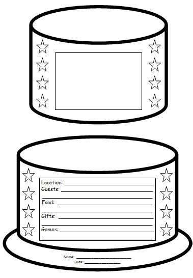 birthday cake templates birthday cake book report project templates worksheets