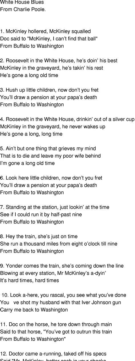 white houses lyrics old time song lyrics white house blues