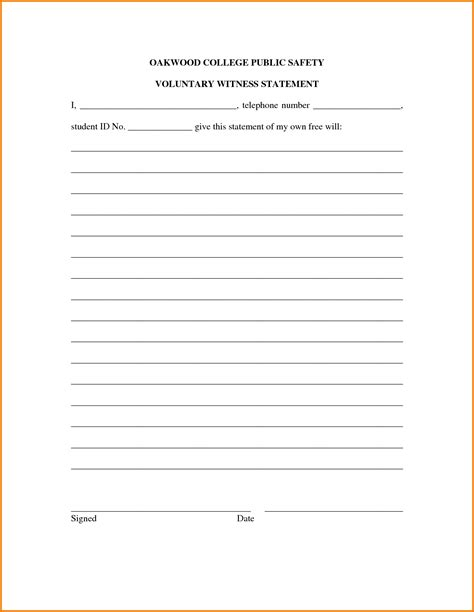 witness form template witness statement form financial statement form
