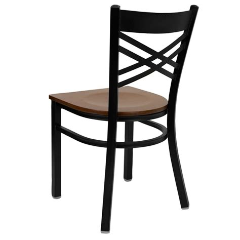 Cherry Wood Chairs by Hercules Black Quot X Quot Back Metal Restaurant Chair With Cherry