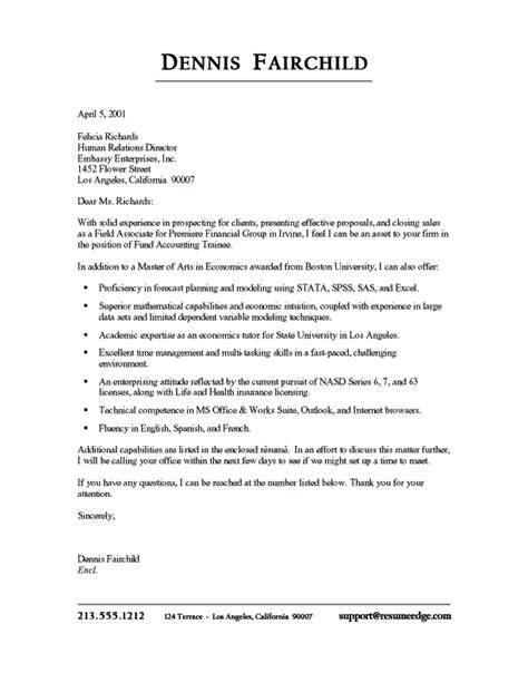 free sle cover letters for resume cover letter exles finance