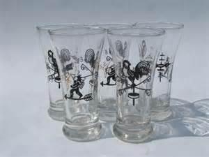Vintage Bar Glassware Vintage Bar Glasses Vintage Libbey Folk Rooster