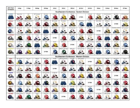 printable helmet schedule 2014 sec football grid schedule nungo com