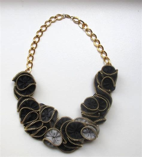 I Found A Zipper Necklace For by Black And Grey Zipper Necklace Recycled Fashion