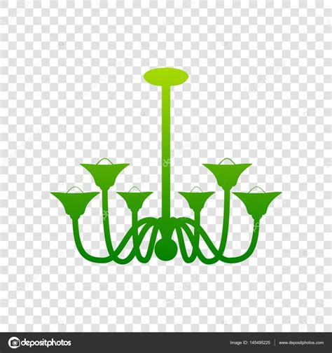 Chandeliers Sign Chandelier Simple Sign Vector Green Gradient Icon On Transparent Background Stock Vector