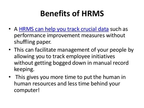 Benefit Of Mba In Hr by Hrms Presentation Hareesh