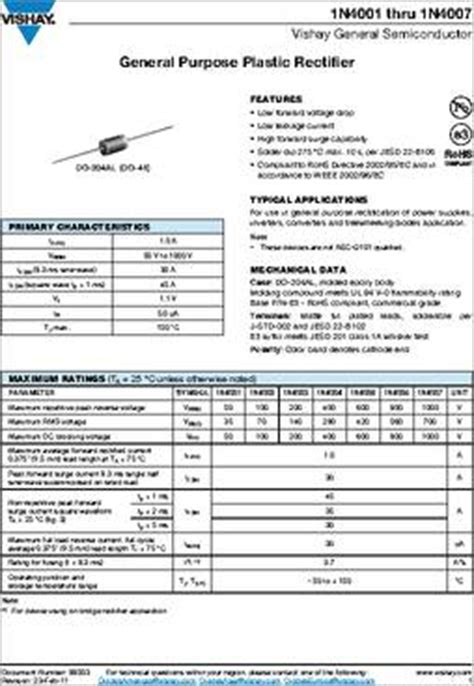 1n4003 diode datasheet 1n4003 e3 73 datasheet specifications diode type standard voltage dc