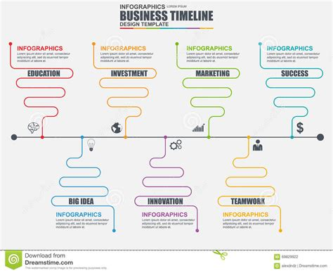 workflow timeline template infographic linear timeline vector design template stock