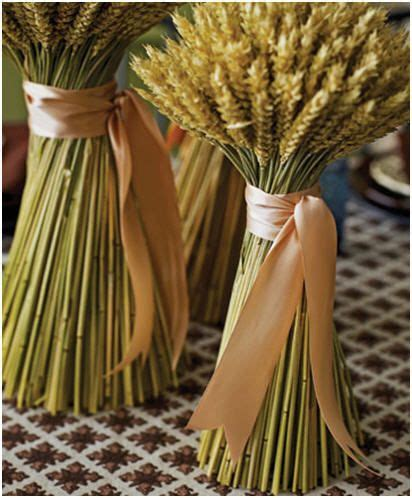 wheat stalk centerpieces with ribbon crafts pinterest