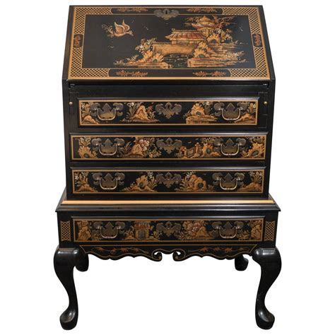 Maddox Furniture by Maddox Chinoiserie Style Black Lacquer Secretaire Desk