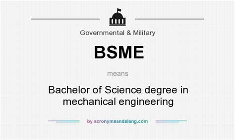 bsme bachelor of science degree in mechanical engineering in governmental by